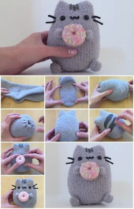 Pusheen Cat Plushie Sock Tutorial